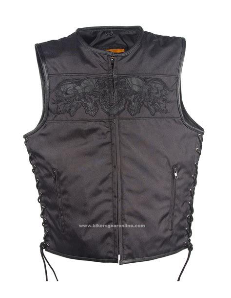 mens black motorcycle mens black textile motorcycle vest with reflective skulls