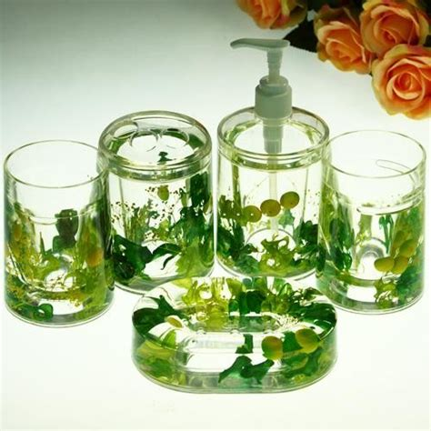 Elegant Green Flowers Bathroom Set Acrylic 5pcs Contemporary By Sinofaucet