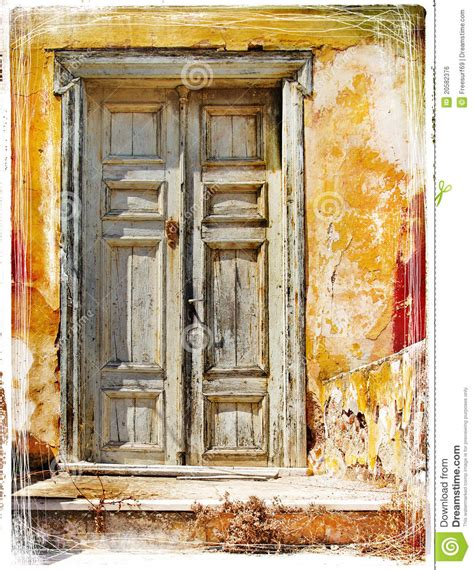 House Plans Cottage old doors of greek islands royalty free stock image