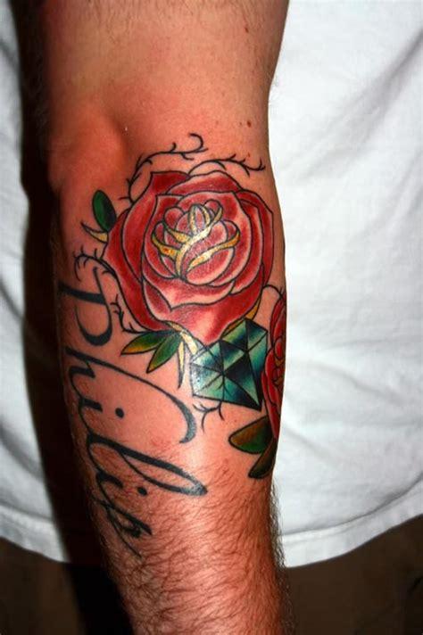 diamond tattoo elbow blue diamond and red rose elbow tattoo