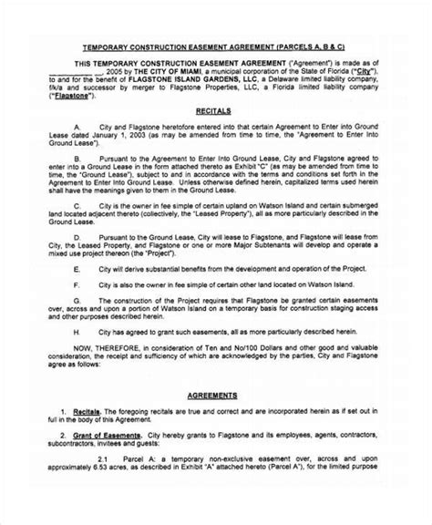 easement agreement template 9 construction agreement form sles free sle