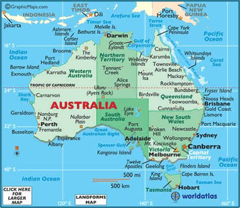 map of ausralia australia landforms and land statistics