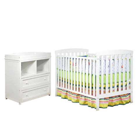 Athena Leila 2 Piece Convertible Crib Set In White 608w Convertible Crib Furniture Sets