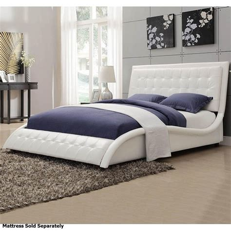 Coaster Tully 300372q White Queen Size Leather Bed Steal A Sofa Furniture Outlet Los
