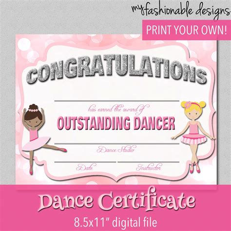 templates for dance certificates dance certificate print your own instant by