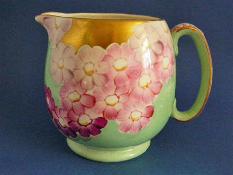 Jug Tulipware Pink Green large gray s pottery deco pink and green floral jug c1932