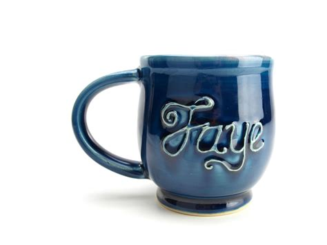 Mug Costum Nama handmade custom personalized name coffee mug wheel thrown pottery by gemfox custommade