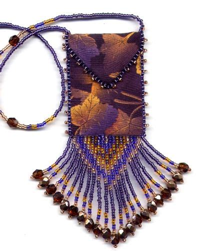 finished beaded gold maple leaf amulet bag by