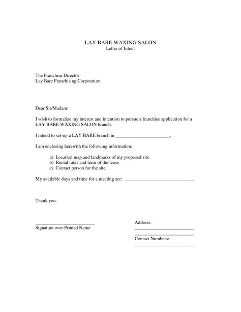 Cover Letter Of Intent Template by Business Letter Of Intent Exle Mughals