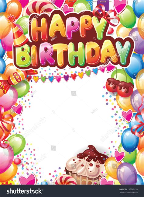 happy birthday card template with photo template happy birthday card stock vector 136249970