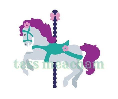 carousel horse svg dxf die cutter template