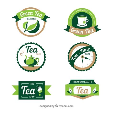 tea leaves logo collection vector