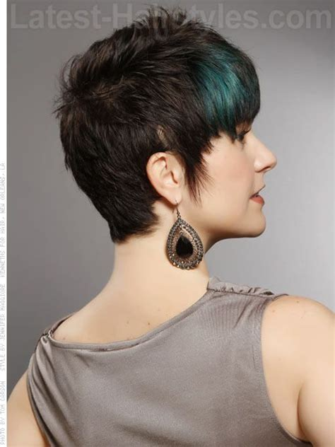 highlight a pixie cut cute short brunette pixie with blue peacock highlights