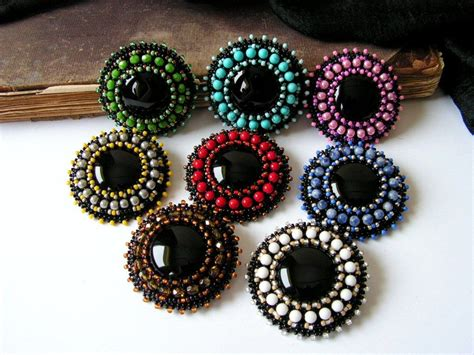 beadwork brooch black brooch beaded brooch bead embroidery brooch