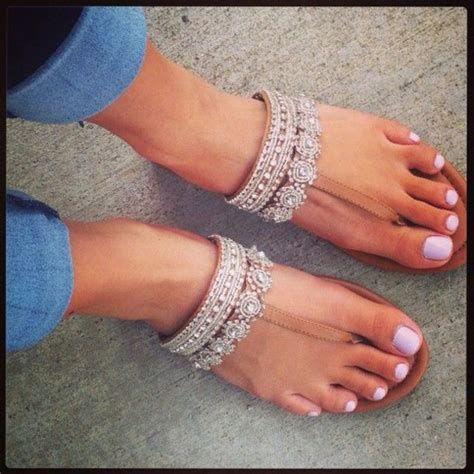 Must Colors For Summers Bare Toes by Shoes Sandals Beige Diamonds White Flats Wheretoget