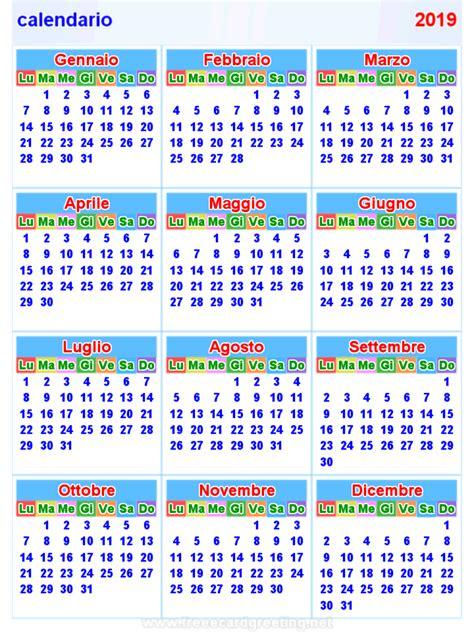 Calendario 2019 Italiano Calendario 2019 Orizzontale E Verticale
