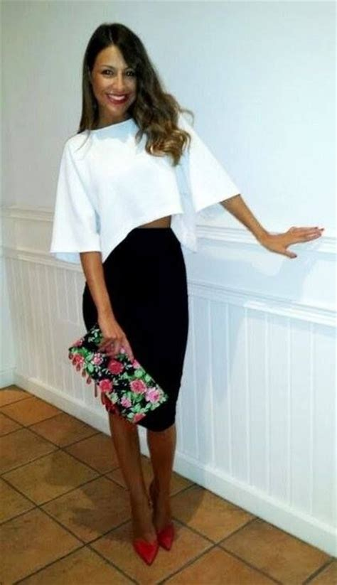 black pencil skirt with white crop top inspiration