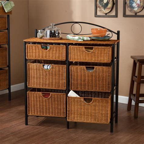 wicker storage chest organizer 6 rattan drawer baskets