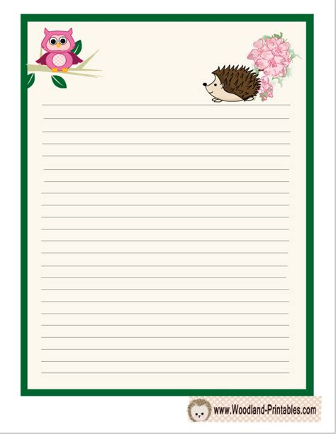 printable animal lined paper writing paper printable featuring hedgehog free