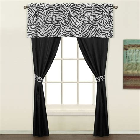 purple pattern curtains with valance and tieback on white zebra 5 piece decorative curtain set by united curtains