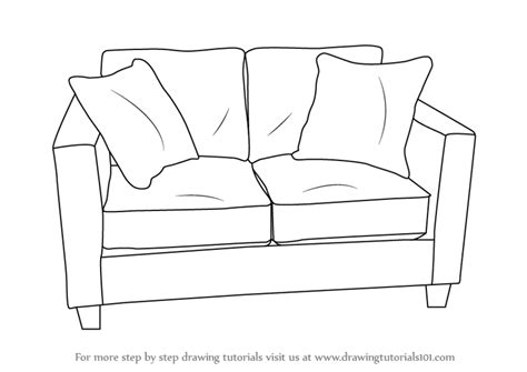 sofa drawing learn how to draw love seats sofa furniture step by