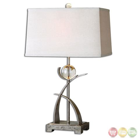 Home Design Studio Bassett cortlandt silver thick curved metal amp crystal table lamp 27746