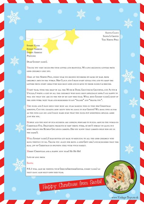 Free Letter From Santa Template For You To Download And Edit Welcome To The Vintage Toys Blog Letter From Santa Template