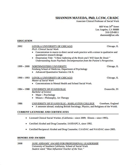 Resumes For Social Workers by Sle Social Worker Resume Template 9 Free Documents In Pdf Word