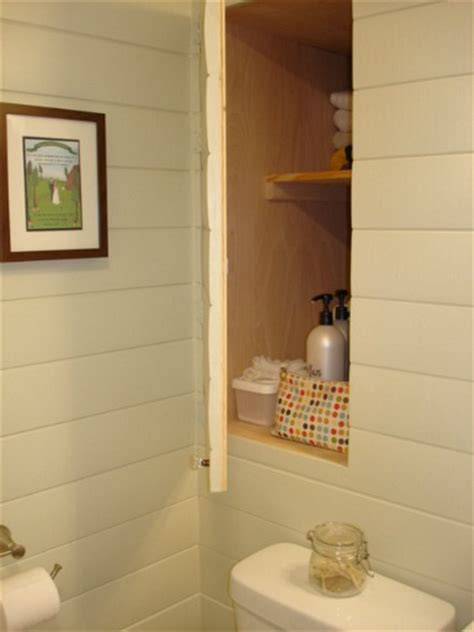 hidden in bathroom before after giving a small bathroom some character