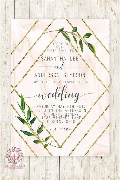 Geometric Marble geometric marble greenery wedding invite invitation bridal