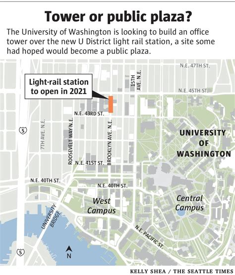seattle map station uw may build office tower atop u district light rail