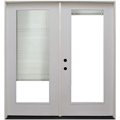 Mini Blinds For Patio Doors Steves Sons 60 In X 80 In Primed White Fiberglass Prehung Right Inswing Mini Blind