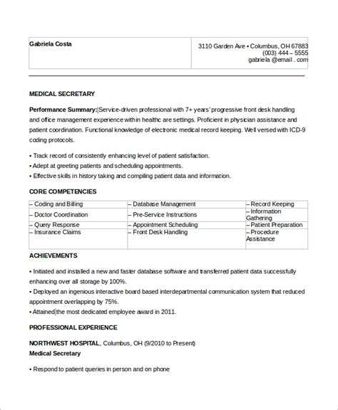sle secretary resume 8 exles in word pdf