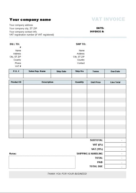 tax invoice template excel invoice template with two vat tax rates invoice