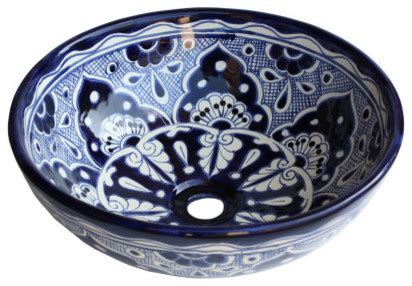 talavera bathroom sinks blue round ceramic talavera vessel sink traditional bathroom sinks by fine