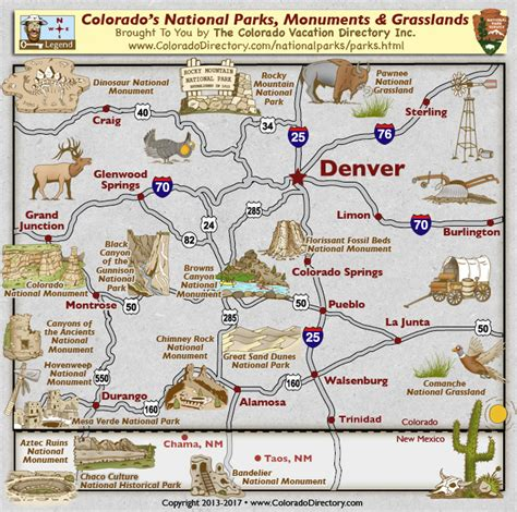 map of national parks in colorado colorado national parks monuments grasslands map