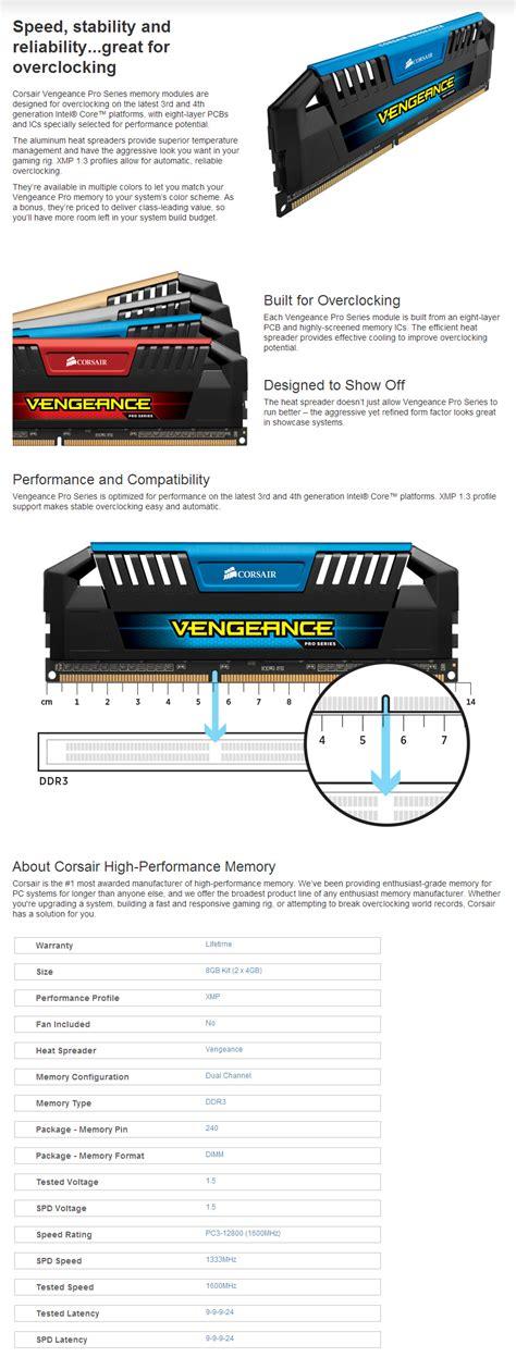 Corsair Ddr3 Vengeance Pro Blue Pc12800 8gb 2x4gb memoria ddr3 corsair 8gb 2x4gb 1600 vengeance pro blue
