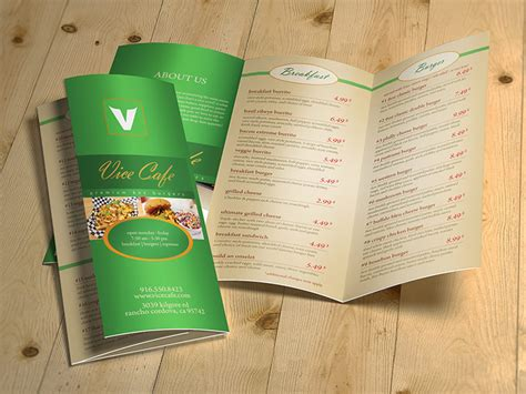3 fold food menu brochure creatica studio