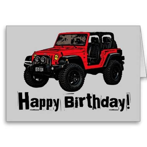 happy birthday jeep cake happy birthday red jeep wrangler greeting card