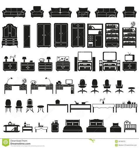 Black And White Bedroom Set furinture furniture icons set stock photo image 36195670