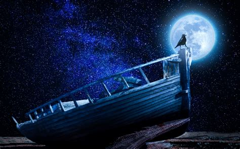 sky boat download wallpaper 3840x2400 crow starry sky boat moon