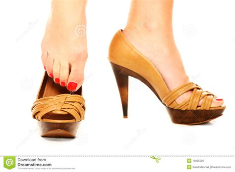 putting on shoes putting on shoes stock photography image 18285022