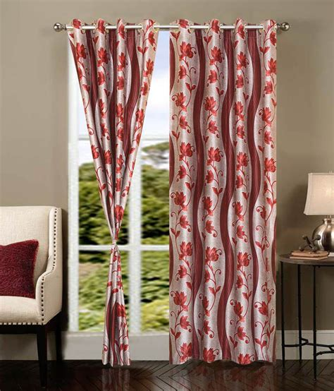 orange printed curtains home elite single window eyelet curtain buy home elite