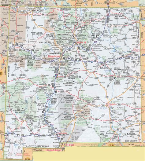 road map of nm new mexico sights