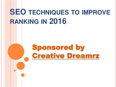 Seo Techniques 2016 by Seo Techniques To Improve Ranking In 2016
