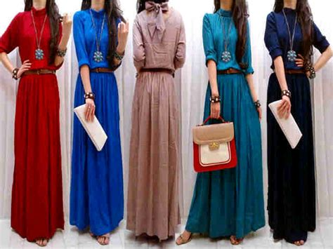 Lengan Panjang 2 Pcs Dengan Tali maxi turtle neck dari rumahmentari di pakaian wanita dress produk grosir
