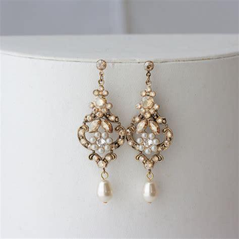 chandelier wedding earrings antique gold bridal earrings