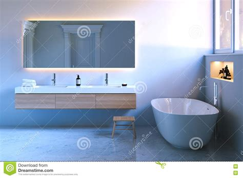 Bath Mixer Tap With Shower Attachment modern bathroom with marble floor stock photography