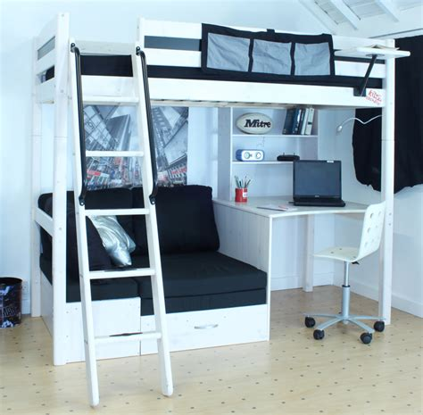 bunk beds with desk and futon thuka trendy 29 highsleeper rainbow wood