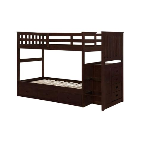 home depot beds boraam cappuccino twin size bunk bed 97122 the home depot